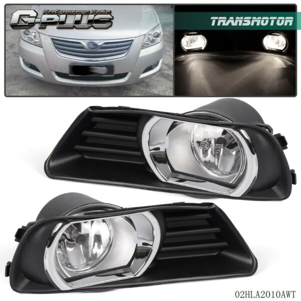 For 2007-2009 Toyota Camry Fog Lights Front Bumper Lamps Clear Lens COMPLETE KIT
