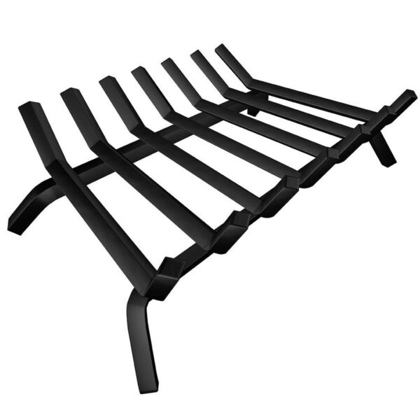 Black Wrought Iron Fireplace Log Grate 24 inch Wide Heavy Duty Solid Steel Indoo