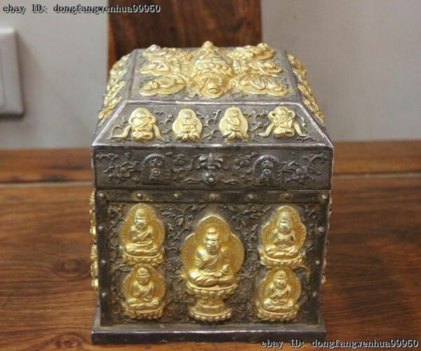 China Buddhism Vintage Handmade Engraved Pure Silver Gold Gilt Seal Case Boxs