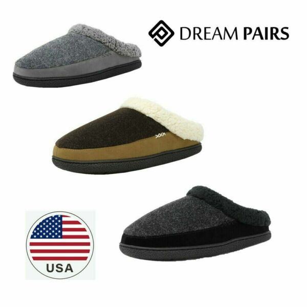 DREAM PAIRS Men Winter Suede Soft Faux Fur Lining House Slippers cozy Warm shoes $15.80