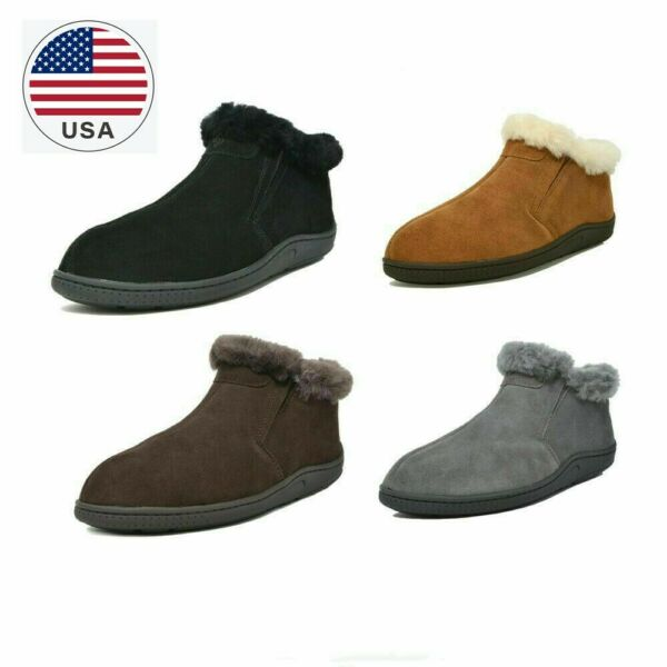 DREAM PAIRS Men Suede Sheepskin Fur Lining Slipper Loafers Short Ankle Boots New