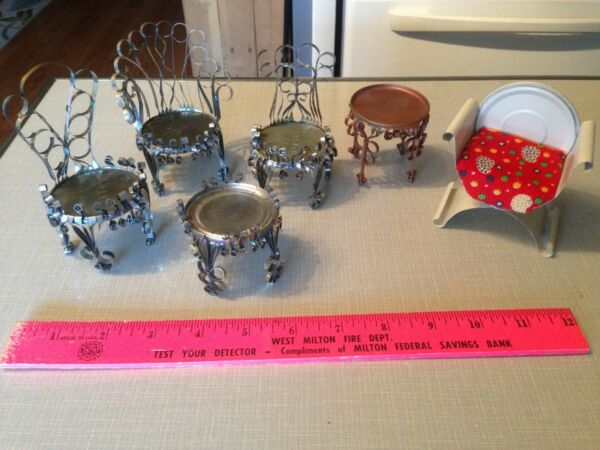 Vintage Tramp Craft Art Tin Can Scroll Chairs & Tables Lot Doll House Furniture