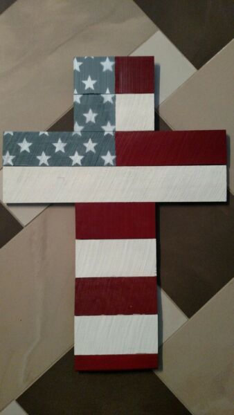 Patriotic American Flag Cross Memorial Veteran Freedom Independence USA