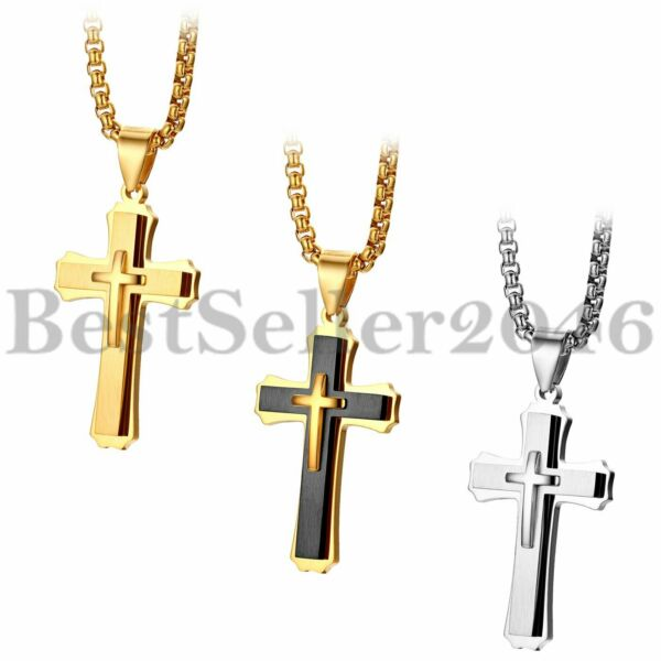 Mens Womens Stainless Steel Cross Crucifix Pendant Religious Necklace Chain 22quot; $9.99