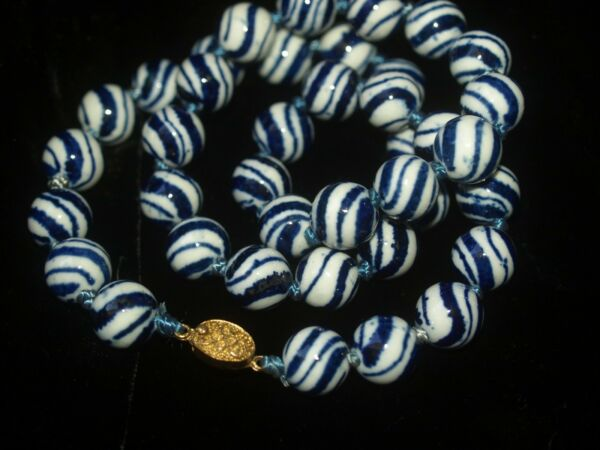 Vintage Chinese Blue White Porcelain Beaded Necklace 24quot; Gold Old Chinese Clasp $14.88