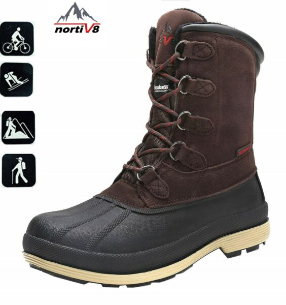 NORTIV 8 Men#x27;s Lace Up Warm Insulated Waterproof Outdoor Work Winter Snow Boots