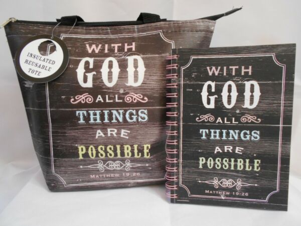 Tri Coastal Insulated Lunch Tote Plus Journal With God All Things Are Possible