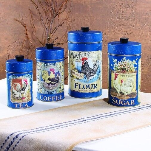 Set 4 Tin Food Safe French Country Rooster Canisters Flour Sugar Coffee Tea