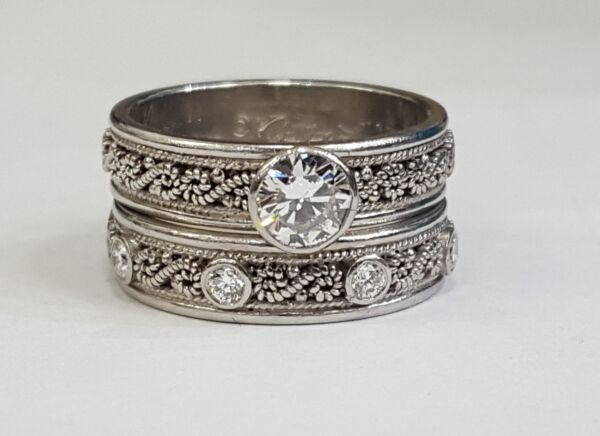 Nathan Levy Diamond Scroll Engagement Ring & Wedding Band Set Platinum Sz 5