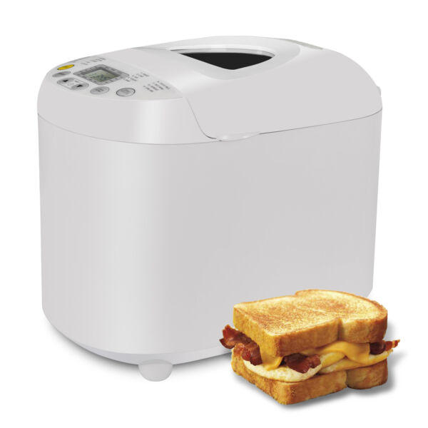3 Loaf Sizes and 3 Crust Color Bread Maker Machine 550W 2.2 lbs W/ Top Window