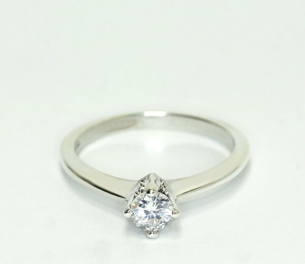 Sterling Silver Round CZ Squared Flat Edge Band Solitaire Engagement Ring $22.47