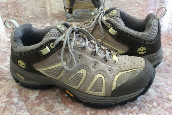 Timberland Ledge Low Trail Oxford Men's Pewter Yellow Vibram Hiking Shoes Sz 8M $55.24