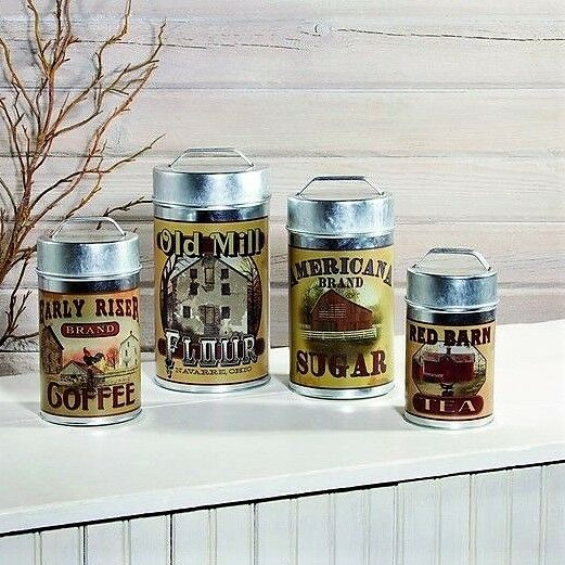 Set 4 Tin Food Safe Old Mill Advertising Canisters Flour Sugar Coffee Tea