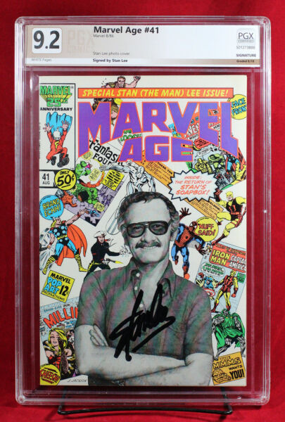 MARVEL AGE #41 PGX 9.2 NM- Near Mint Minus signed Stan Lee on PHOTO COVER! +CGC!