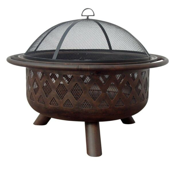 Lattice Fire Pit Outdoor Bowl Portable Wood Burning Bronze Finish Spark Guard