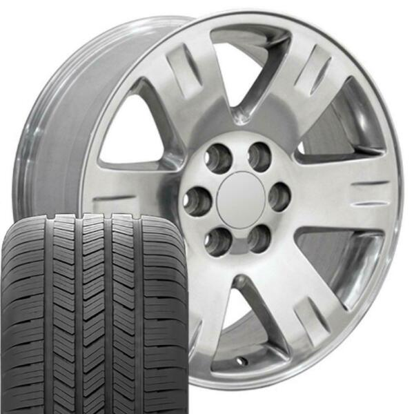 20x8.5 Wheels Tires Fit Yukon Tahoe Chevy Polished Rim GY 5307 B1W