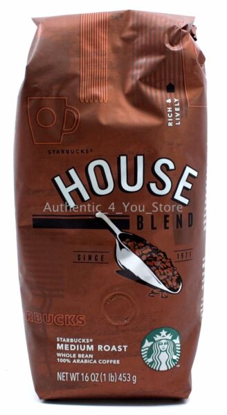 NEW Starbucks HOUSE BLEND Whole Bean Coffee 1lb (16oz) 453g Bag - EXP 92018