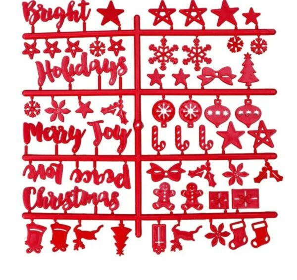 Felt Letter Sign Board Red Plastic CHRISTMAS Letters Ornaments Words Stars