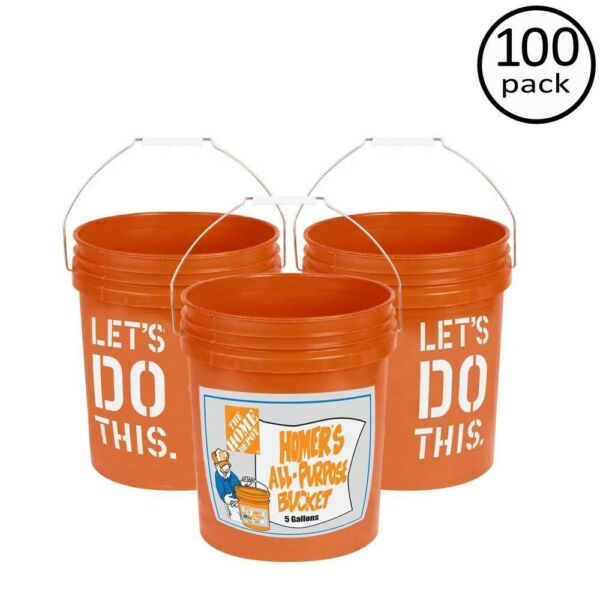 The Home Depot Homer Bucket Utility Pail Durable Plastic Orange 100 Pack 5 gal.