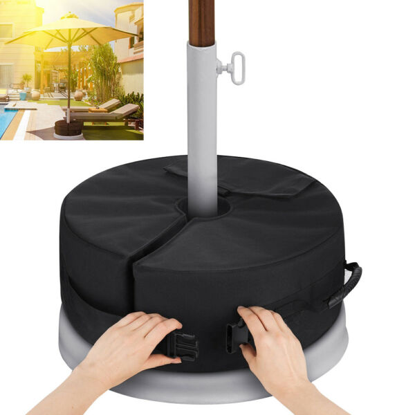 18quot; Round Umbrella Base Stand Outdoor Patio Waterproof Weight Sand Bag 88lbs $12.89