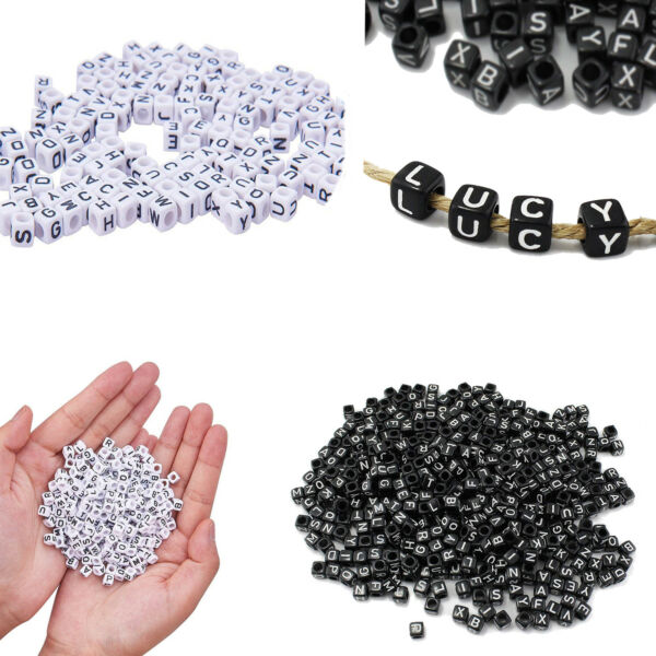6mm 50pcs Each A - Z Alphabet Letter Beads Square Acrylic Craft Jewellery Making