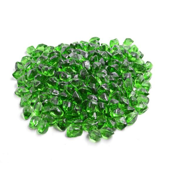 "Green 12"" Polygon Fire Glass for Natural or Propane Fire Pit Fireplace 10 lb"