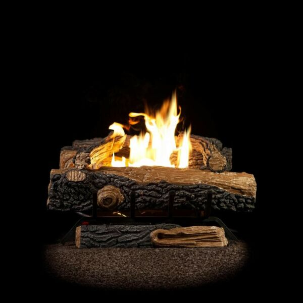 Emberglow Oakwood Gas Fireplace Logs Thermostat Control 24 in Vent-Free Propane