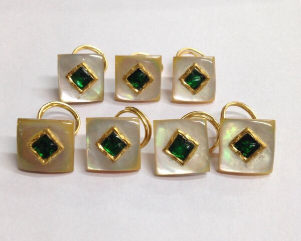 VINTAGE MOTHER OF PEARL-GOLD -SILVER-EMERALD  KUNDAN WORK BUTTON SET- 7pic