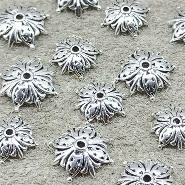 12pcs of 925 Sterling Silver Butterfly Bead Caps Bracelet Spacers