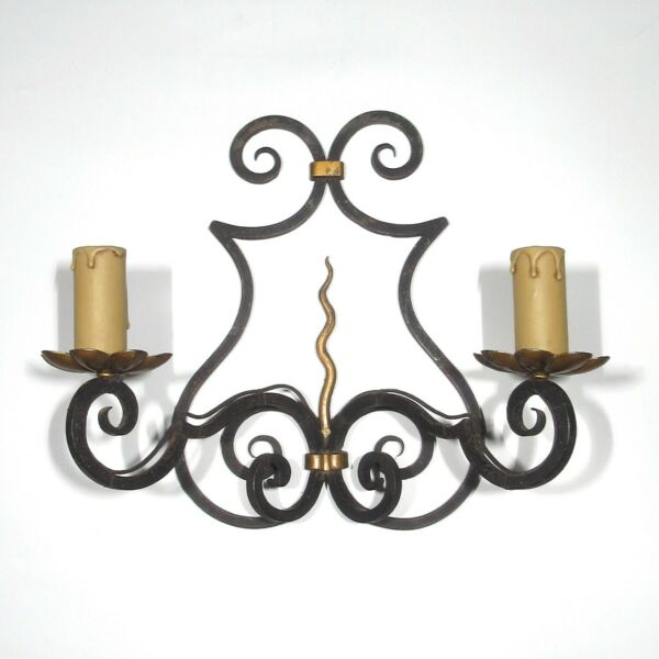 "Vintage French Wrought Iron Sconce and Tole Hand Forged ""French Riviera"" Style"