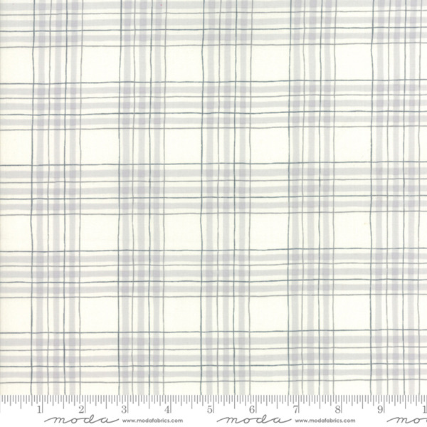 Hearthside Holiday Snowy White Grey Plaid 19835 11 Moda Fabric by the 1 2 yard