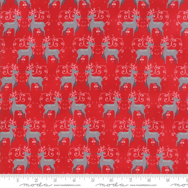 Sno by Hatling Red Grey Deer 39721 16 Moda Fabric Christmas by the 1 2 yard