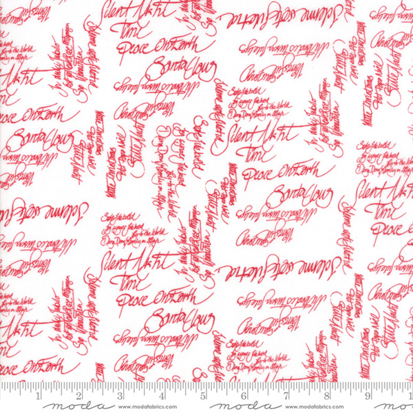 Sno by Hatling White Red Words 39720 12 Moda Fabric Christmas by the 1 2 yard