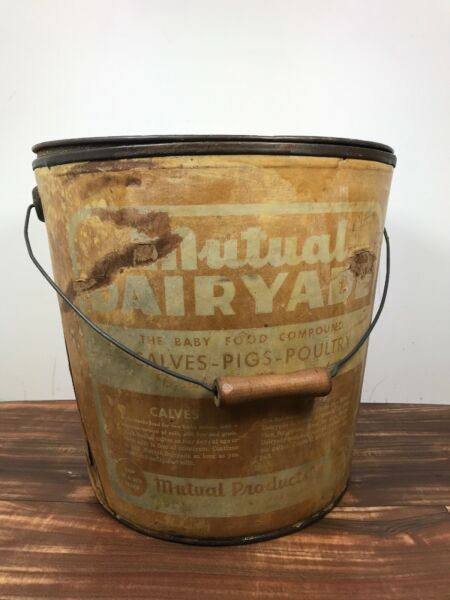 Mutual Dairyade Vintage Baby Food Compound Bucket with Lid Large Pail Fast Ship