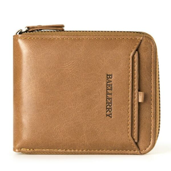Men's Leather Business Wallet with COINS POCKET Zipper Purse ID Card Holder