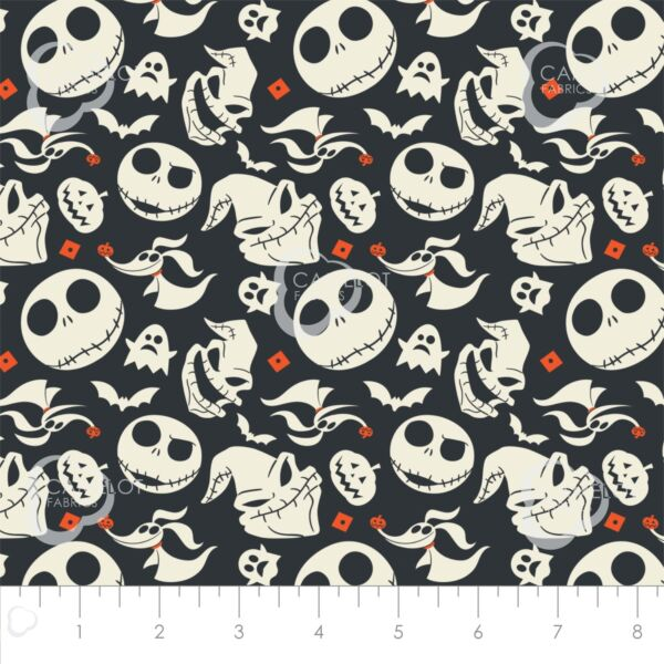Nightmare Before Christmas Jack is Back Heads Tossed Cotton fabric by the yard