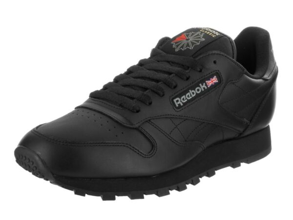 Reebok Classic Leather CL Black Red Fashion Mens Shoes Sneakers 116