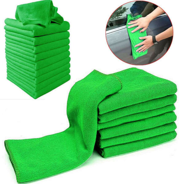 10x Green Microfiber Washcloth Auto Car Care Cleaning Towels Soft Cloths Tool