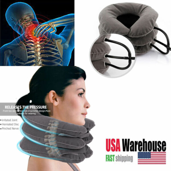 Neck Massager Brace Support Cervical Collar Air Traction Therapy Device USA