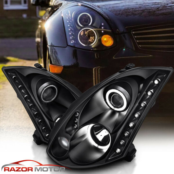 For 2003-2007 Projector Black Headlights Pair [LED Halo] for Infiniti G35 Coupe