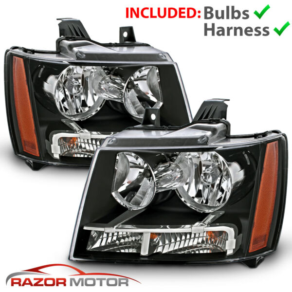 2007 14 Replacement Black Headlight Pair for Chevy Avalanche Subarban Tahoe