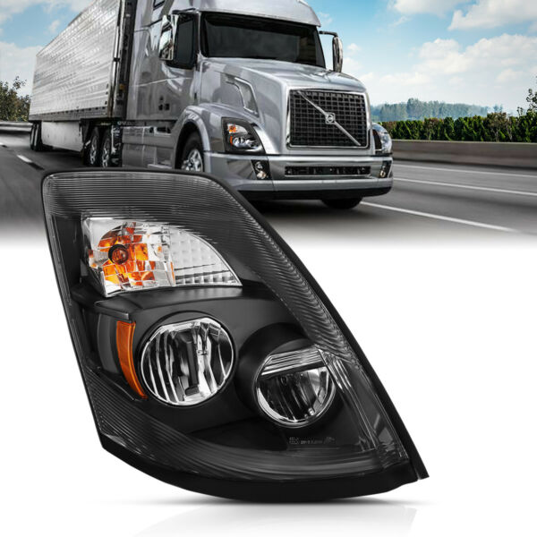 2004-17 Replacement Black LED Headlight Right Passenger Side for Volvo VNL, VNX