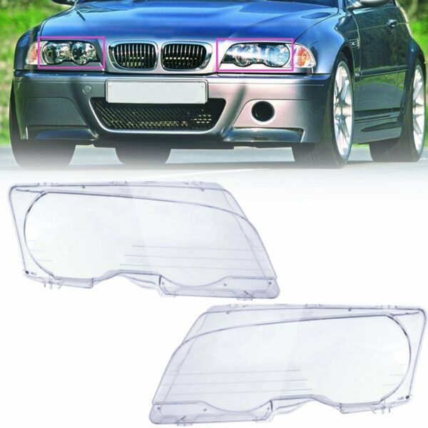 Pair Clear Front Headlight Lens Cover For BMW E46 323Ci 325Ci 328Ci M3 99-06 US