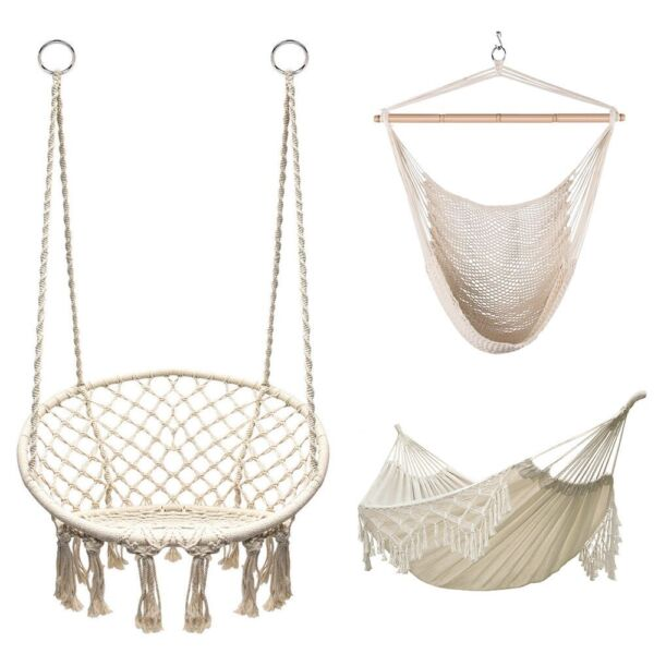Hanging Macrame Hammock Chair Hammock Swing Bed Cotton Seat Yard Outdoor $49.99