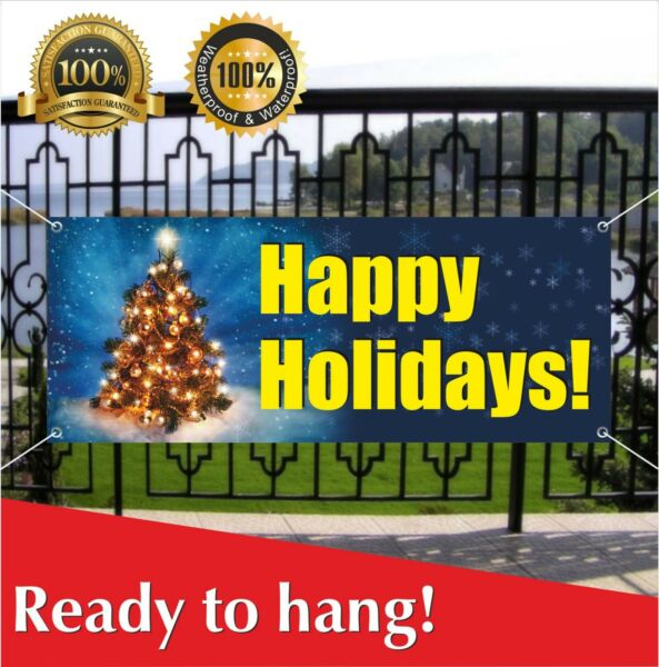 HAPPY HOLIDAYS Banner Vinyl Mesh Banner Sign Party Decor Many Sizes Christmas