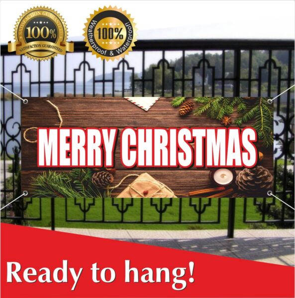 MERRY CHRISTMAS Banner Vinyl Mesh Banner Sign Party Decor Many Sizes Holidays