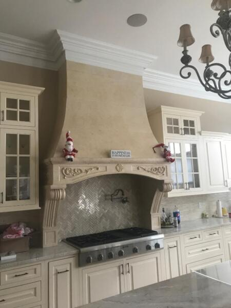 BEAUTIFUL HAND CARVED MARBLE ESTATE KITCHEN STOVE HOOD - JP32