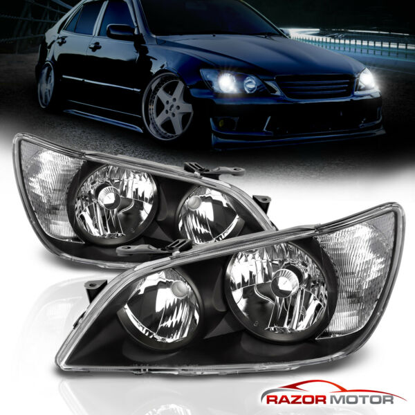 2001 2005 Factory Black Headlight Assembly Pair for Lexus IS300 LeftRight
