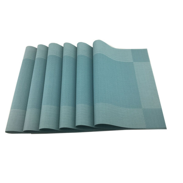 Blue Placemats Rectangle Washable Vinyl Place Mats for Kitchen Table Set of 6