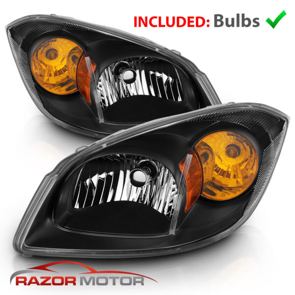 2005-2010 Chevy Cobalt 07-09 Pontiac G5 05-06 Pursuit Euro Black Headlights Pair